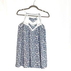 En Creme Blue Paisley Tank Dress
